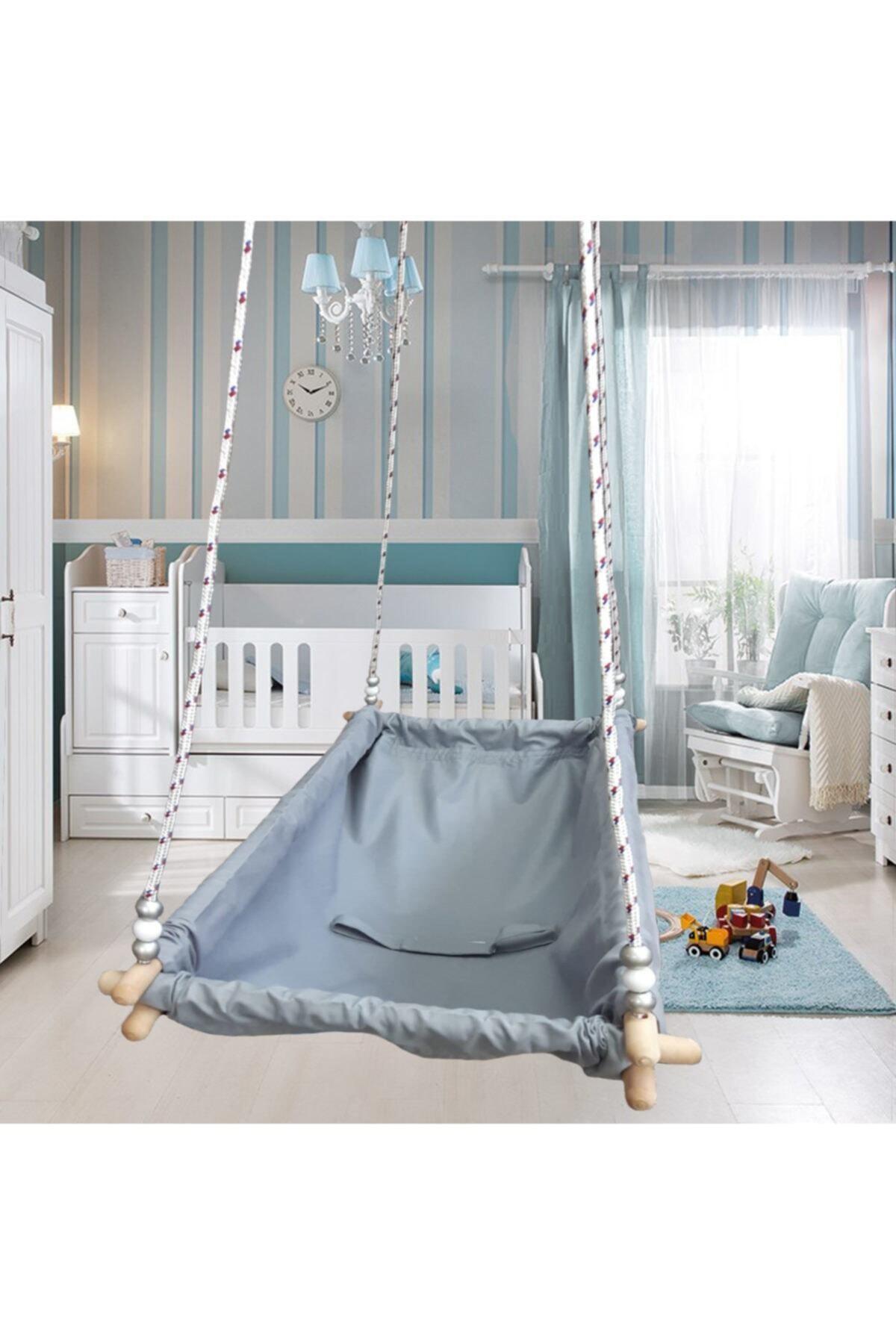 Altev Ahşap Yaylı Zıpzıp Hamak Beşik Hoppala Tavana Asılan Salıncak Bebek Yatağı Iskota Halatlı 1