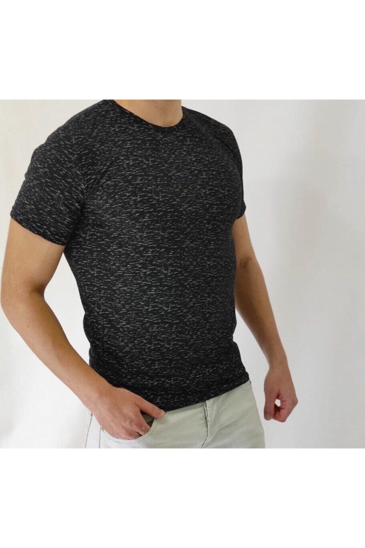 Lilya giyim Unisex Beyaz Desenli Siyah Basic Tshirt 2