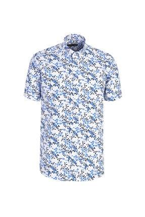 Kiğılı Kısa Kol Desenli Relax Fit Gömlek