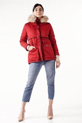 PIQUE Kadın Kırmızı Kürklü Beli Lastikli Mont