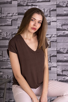 STAMINA Kadın V Yaka Düşük Kısa Kol Bluz