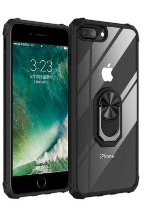Apple Iphone 7 Plus Uyumlu Kılıf Yüzüklü Standlı Zırh Silikon Şeffaf