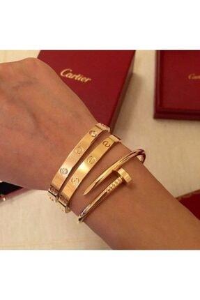 KOBA Kadın Gold Cartier ve Çivi Kombin Bileklik