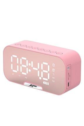 Ally Mobile Ally Q5 Bluetooth Hoparlör Fm Radyo Dijital Masa Saati Alarm Uyandırma Pembe