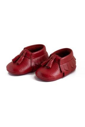 Pati Junior Kırmızı Deri Ponponlu Bebek Patik