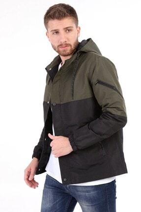 E&E Design Collection Erkek Haki-siyah Kapüşonlu Mevsimlik Ceket
