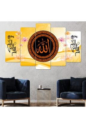 hanhomeart Allah Lafzı Dini Dekor Parçalı Ahşap Duvar Tablo Seti-5pr-905