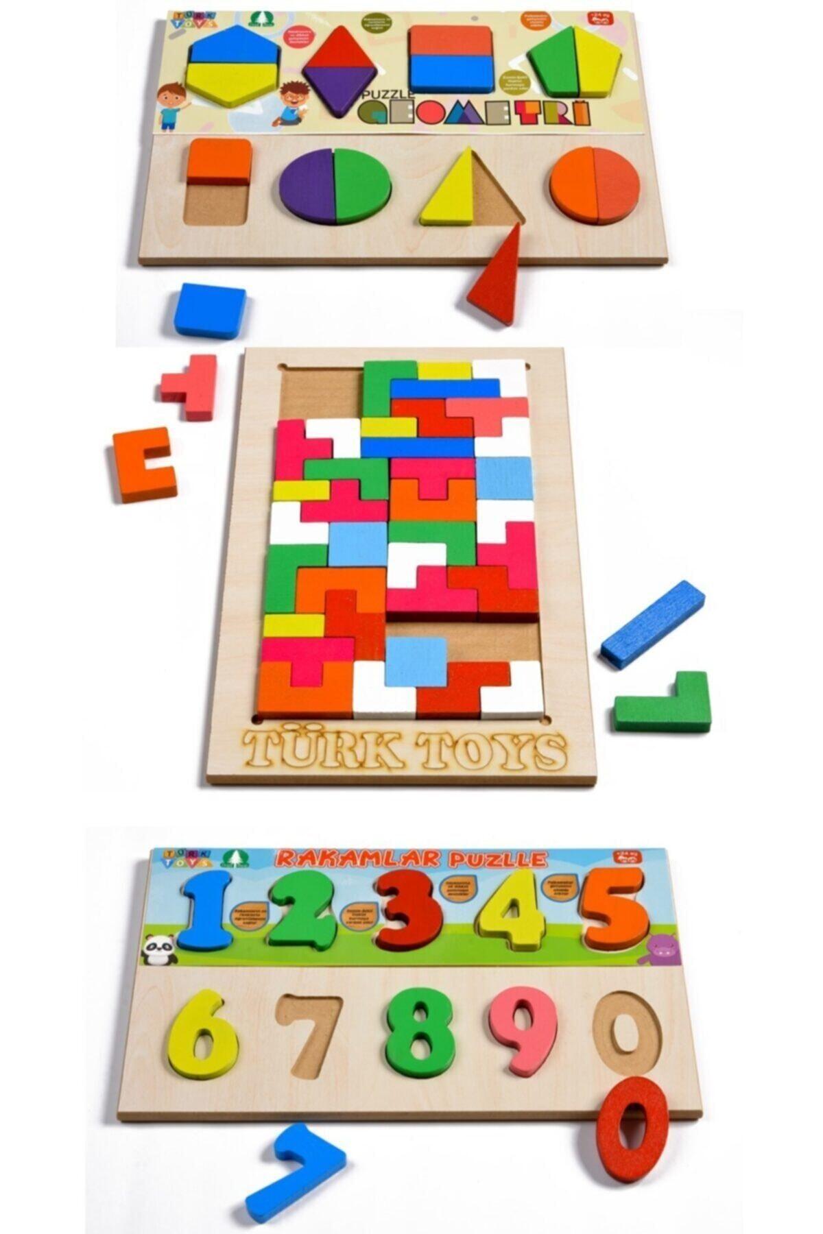 Türk Toys Ahşap Puzzle 3'ü 1 Arada Tetris-geometri-sayılar Hy0001 1