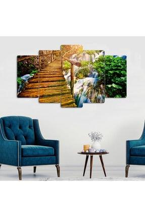hanhomeart Tahta Köprü Doğa Manzara-parçalı Ahşap Duvar Tablo Seti-5pr-0889