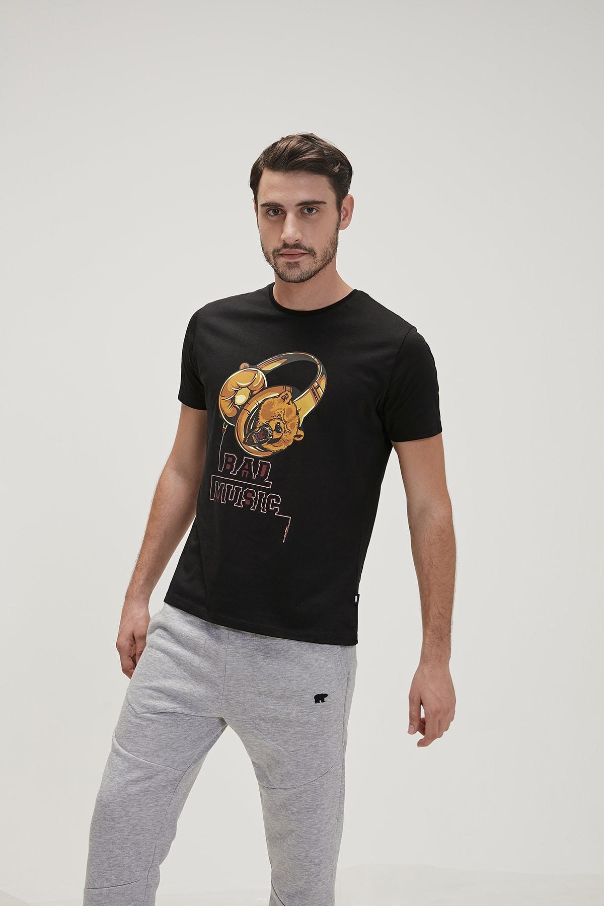 Bad Bear Siyah Erkek Tişört Bad Musıc Tee Nıght 1