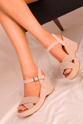 SOHO Vizon Süet Kadın Dolgu Topuklu Ayakkabı 15938