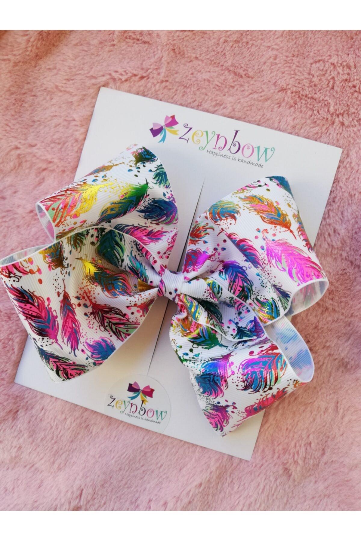 Zeynbow Kız Çocuk Rainbow Yaprak Fiyonk Toka 1