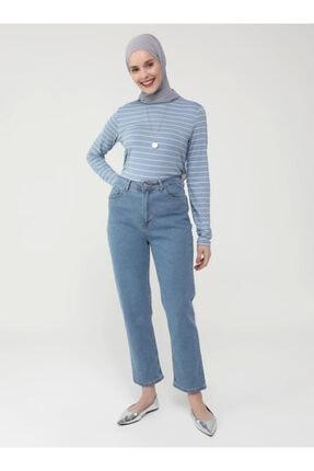 Refka Kadın Mavi Mom Kalıp Likralı Yüksel Bel Jean Pantolon