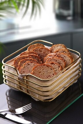 Planet X Büyük Boy Ekmeklik Ekmek Sepeti Lüx Gold Paslanmaz Kare Sepet Bej Kumaş 21 Cm
