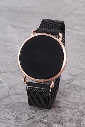 Polo55 Plpremıum19r01 Siyah Dokunmatik Led Ekran Mıknatıs Hasır Kordon Dijital Saat