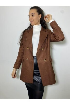 BLACK WOMAN Kruvaze Kase Ekose Ceket