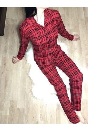 Gagas Kadın Kırmızı Ekoseli Viskon Kumaş Pijama Takımı
