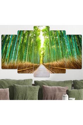hanhomeart Bambu Yolu Parçalı Ahşap Duvar Tablo Seti-5pr-960