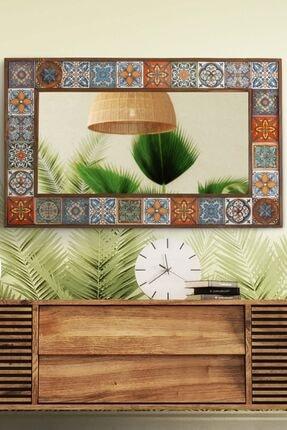 bluecape Doğal Ağaç Masif Çerçeveli El Yapımı Çini Seramik Salon Ofis Mutfak Duvar Konsol Boy Ayna 62x100 Cm
