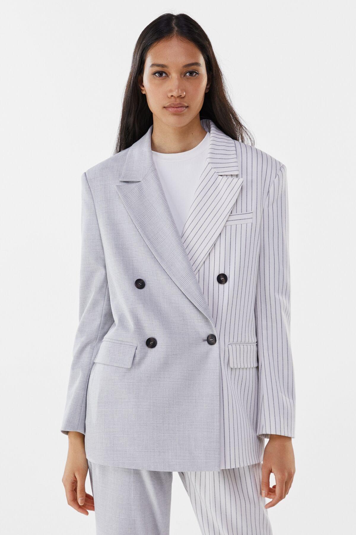 Bershka Kadın Gri Kontrast Klasik Kesim Blazer 01226168