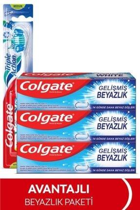 Colgate Gelişmiş Beyazlık Beyazlatıcı Diş Macunu 3 x 75 ml, Üçlü Etki Orta Diş Fırçası