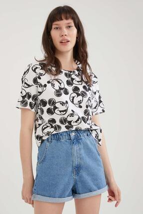 DeFacto Mickey Mouse Lisanslı Relax Fit Crop Tişört