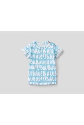 United Colors of Benetton Unisex Bebek Mavi Yazı Desenli Tshirt