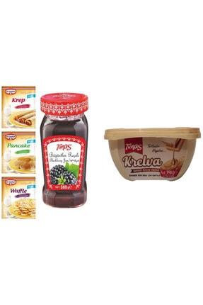 Dr. Oetker Krep Pancake Waffle Karışımı Ve Böğürtlen Reçeli,tahinli Krem Helva