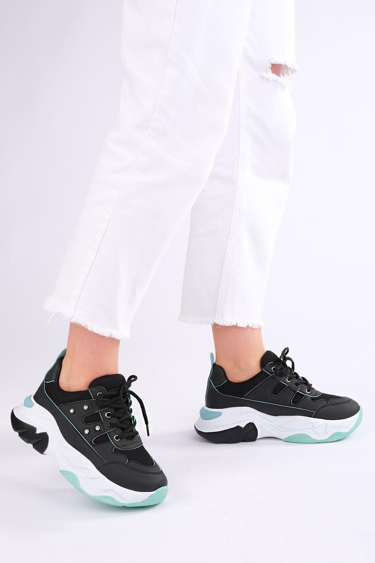 Marjin Kadın Siyah Sneaker Dolgu Topuk Spor Ayakkabı Atrin 2