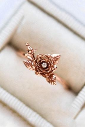 LOTUS GÜMÜŞ 14 Ayar Rose Gold Kaplama Gül Motif Taşlı Yüzük