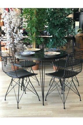 Ressa Home Manolya Balkon Masası -mutfak Masa Takımı -yuvarlak 4 Sandalye Siyah Mermer Çap 90