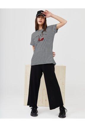Kayra Scooter Logolu Çizgili Penye T-shirt Lacivert B21 10125