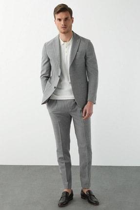 Network Erkek Slim Fit Drop 6 Gri Çizgili Takım Elbise 1078616
