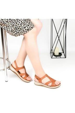 Pandora Kadın Taba Ortopedik Deri  Günlük Sandalet Hy7040