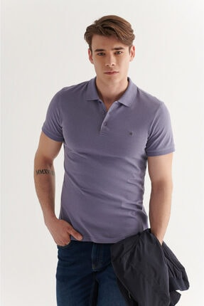 Avva Erkek Lila Polo Yaka Düz T-shirt E001004