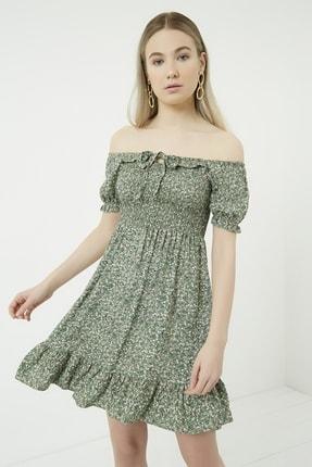 Vis a Vis Kadın Haki-Beyaz Gipeli Yakası Bağlamalı Kloş Elbise STN781KEL120