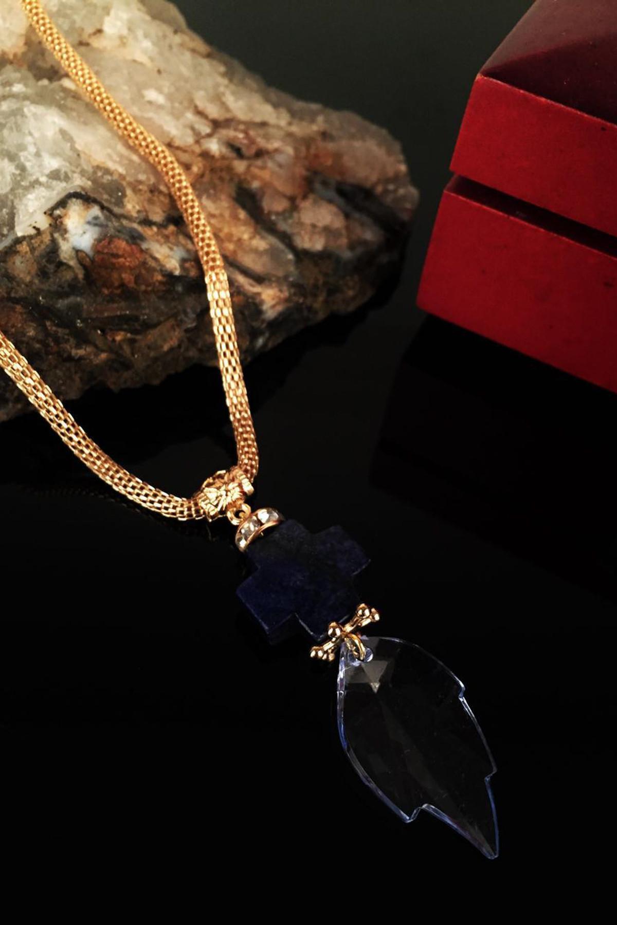Dr. Stone Kadın Doğaltaş Lapis Lazuli Taşı Kolye Nrs718 1