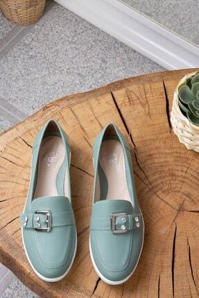 Fox Shoes Kadın Yeşil Metal Tokalı Günlük Ayakkabı K848212209