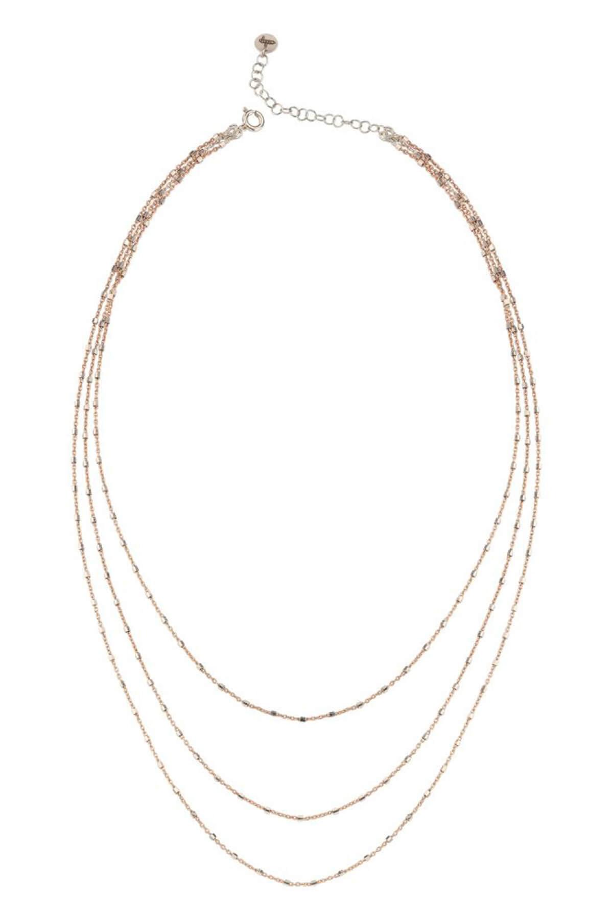BENDİS Kadın Rose-Gümüş Katmer Aynalı Üçlü Kolye Uzun C556 2