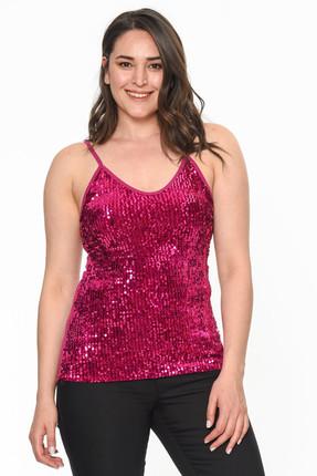Lir Kadın Pembe İp Askılı Pullu Bluz 2245
