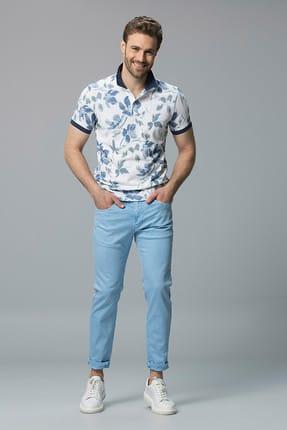 Lufian Erkek Helios Vintage Polo T- Shirt Mavi 111040004100300
