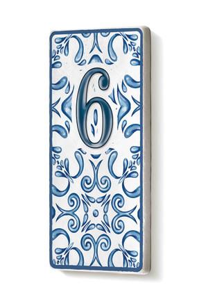 The Mia Kapı Numarası Mavi Beyaz 6