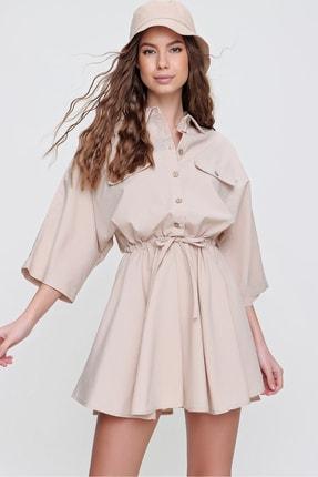 Trend Alaçatı Stili Kadın Bej Safari Dokuma Gömlek Elbise ALC-X6196