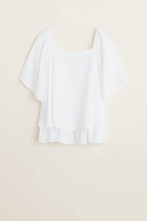 MANGO Woman Kadın Beyaz Fırfırlı Dokuma Bluz 43017762