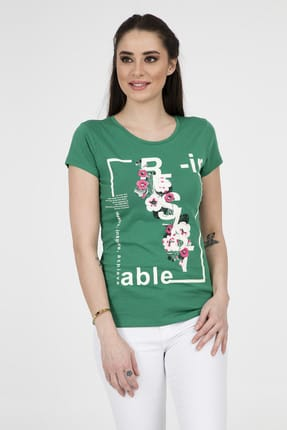 Fashion Friends Kadın Yeşil T-Shirt 9Y1551
