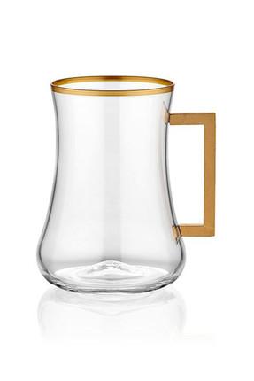 Koleksiyon1 Dervish Köşeli Kulplu Çay Bardak 6'lı Altın Bant 31000041042