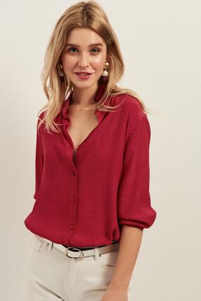 Olalook Kadın Kırmızı Minik Puantiyeli Salaş Viskon Gömlek OLA-G10654