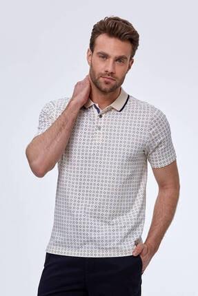 Hemington Erkek Kırık Beyaz Desenli Polo Yaka T-shirt