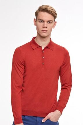 Hemington Erkek Açık Kırmızı Polo Yaka Merino Yün Triko Kazak