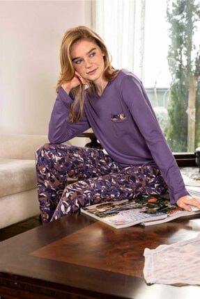 Mossta Kadın Mor Dal Desen Viskon Pijama Takımı